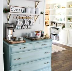 Home Decoration Crafts Coffee Bar With Old Dresser Painted Coastal Blue, Mounted Shelf Above For Coffee Supplies, Beautiful Coffee Station Coffee Bar Station, Coffee Station Kitchen, Coffee Bars In Kitchen, Coffee Bar Home, Coffe Bar, Coffee Stations, Coffee House Decor, Coffee Bar Design, Coffee Nook