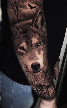 Wolf Tattoo Forearm, Wolf Tattoos, Lion Tattoo, Animal Tattoos, Arm Tattoo, Tatoos, Wolf Sleeve, Wolf Tattoo Sleeve, Sleeve Tattoos