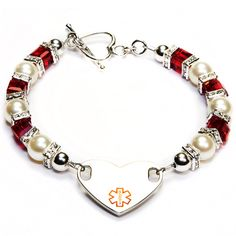 Bracelet with square beads and spacers, plus pearls.
