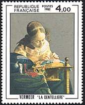 France Stamp 1982 - Vermeer La Dentelliere (The Lacemaker) Johannes Vermeer, Louvre Paris, Vintage Handkerchiefs, Mail Art, Stamp Collecting, Postage Stamps, Les Oeuvres, Literature, Art Gallery