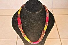 African Zulu Beaded Necklace -  Multi strand - Red Yellow and Geometric Pattern by Hadeda on Etsy