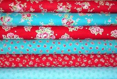 NEW Lecien Flower Sugar Red Aqua Fabric by TheCalicoCatFabrics