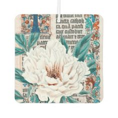 Peony Manuscript Car Air Freshener - calligraphy gifts custom personalize diy create your own