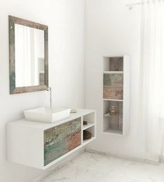 Weathered Wood Look Bathroom Vanities In A Collection Called Materia  Mulitcolor By Bianchini U0026 Capponi   Contract