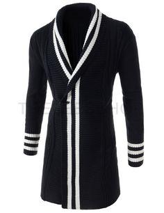 (CEC05-BLACK) Mens Casual Stripes Pattern Shawl Collar Twist Knitted Long Cardigan