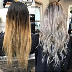 """Smokey Platinum Part 1 ✨Hair by @hairbyac_alcorn @necessalon. """"I began by applying Wella Soft Blonde cream lightener+20vol(6%)+Olaplex in thinly sliced foiled sections in foil. Processed 20 min. Then applied Wella Blondor+30vol(9%)+Olaplex to 1/2"""" regrowth area in four quadrants. Processed together 45 minutes until almost a clear blonde. Shampooed, conditioned & towel dried. Toned the regrowth with Wella Illumina 7/81(1oz)+Wella Instamatics Smokey Amethyst (1/4..."""