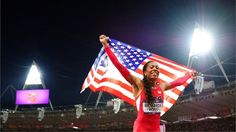 Sanya Richards-Ross of the United States celebrates winning gold