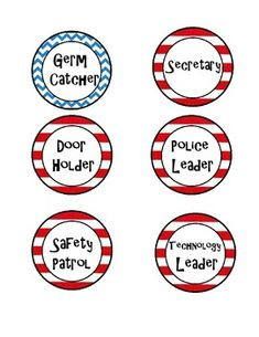 These cute labels are perfect for a Dr. Seuss themed classroom.  Jobs include:SecretarySafety PatrolPencil LeaderBehavior LeaderSupply LeaderCabooseDoor HolderGirls MonitorBoys MonitorLibrarianCustodianFork CollectorTable WashersTechnology LeaderLibrarianIf you would like to add any jobs, just let me know!