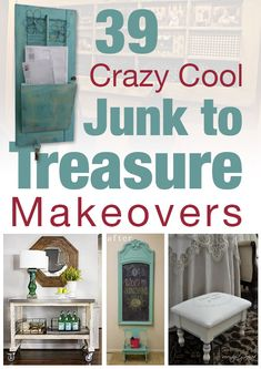 39 Fabulous Junk to Farmhouse Styled Treasure Makeovers! I like mirror in the bottom left pic
