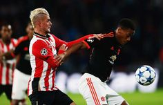 Anthony Martial of Manchester United is challenged by Maxime Lestienne of PSV Eindhoven Manchester United Coach, Anthony Martial, Best Club, Man United, Uefa Champions League, Soccer, Challenges, The Unit, Shit Happens