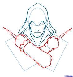 how to draw ezio, assassins creed, ezio step 4
