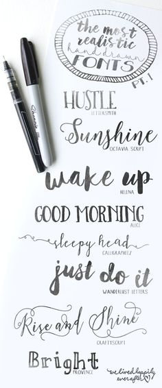 the most realistic hand drawn fonts: handlettering Typographie Fonts, Hand Drawn Fonts, Hand Drawn Typography, Calligraphy Fonts, Handwritten Fonts, How To Do Calligraphy, Brush Lettering, Lettering Styles, Font Styles
