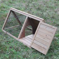 Wooden Rabbit Hutch Triangular A-Frame Chicken Guinea Pig Ferret House Coop Cage