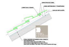 Detalle de teja CON beata enrastrelado doble y lámina impermeable www.panelestudio.com .