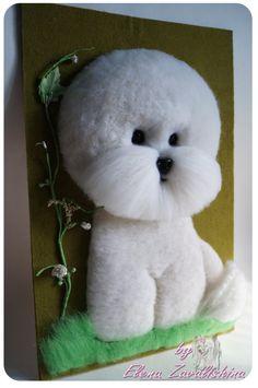 Bichon Frise/ Felt dog/ Bichon frise ornament /Dog wall art/Custom pet portrait/ Personalized Pet/ Wool sculpture