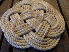 """Rope Table Placemat Centerpiece Set of 4 Off White Cotton Knotted Mats 13"""" Nautical Beach Marine Ocean or Rustic Decor by AlaskaRugCompany on Etsy"""