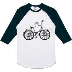 theIndie Hand Drawn Bicycle (Black) 3/4-Sleeve Raglan Baseball T-Shirt