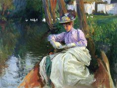 By the River (Femme en Barque) (1885) - John Singer Sargent
