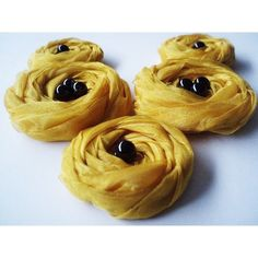 Mustard Roses Handmade Appliques Embellishments5 by BizimSupplies via Polyvore
