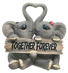 ShopForAllYou Figurines and Statues Forever and Ever Elephant Couple Lovers with Heart Shaped Trunks Figurine Elephant Images, Elephant Love, Little Elephant, Elephant Art, Elephant Tattoos, African Elephant, Elephant Stuff, Elephant Quotes, Funny Elephant