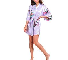 Amazon.com: Kissria Women's Kimono Robes Peacock and Blossoms Short Style Silk Nightwear: Clothing