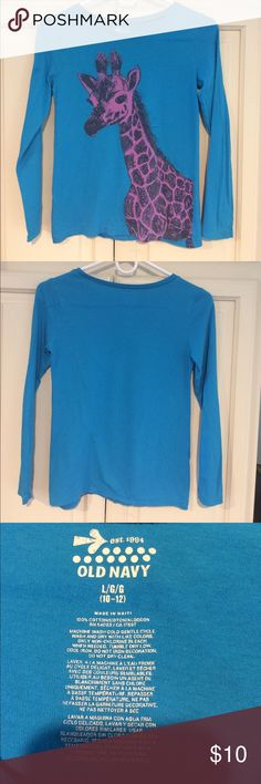 Old Navy Girls Long Sleeve Shirt L 10/12 Giraffe Old Navy Girls Long Sleeve Shirt L 10/12 Giraffe Purple on front background blue Old Navy Shirts & Tops Tees - Long Sleeve