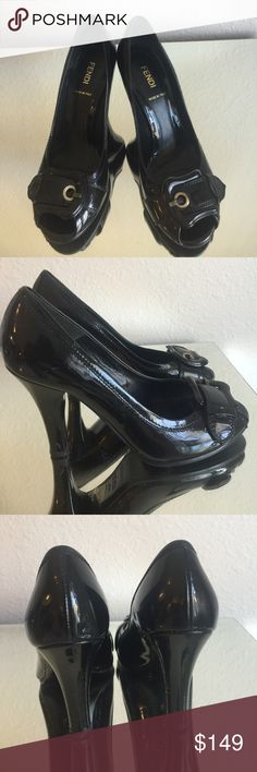 💯Authentic Fendi open toe buckle heels 👠 These beautiful Fendi shoes are in good condition. Some small scratches on the heels.  Please refer to second picture. Made in Italy.  Size 37.5.  I have a dust bag for these beauties However is not the original one.  Heel size almost 4 inches tall. There a little wide.  ❤️ Fendi Shoes Heels