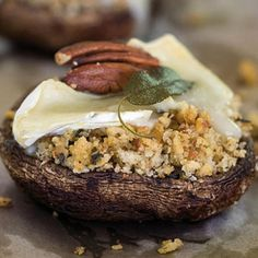 Taste Mag | Mushrooms with pecan nut and sage stuffing @ https://taste.co.za/recipes/mushrooms-with-pecan-nut-and-sage-stuffing/