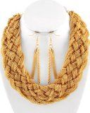 Suzie Golden Braided Mesh And Chains Necklace And Earring Set