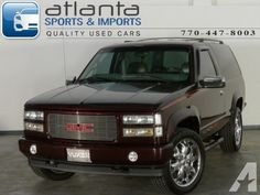 Options Included: N/AWhy buy this 1997 GMC Yukon GT from Atlanta Sports and Imports? - Rare 2 door GT - Owned by our ASE Certified Mechanic - Rims with New Tires & New Brakes - Custom Interior & Exterior - CD Player with 2 Subs in a Custom. Custom Chevy Trucks, Chevy 4x4, Lifted Chevy Trucks, Gmc Trucks, Yukon For Sale, 2 Door Tahoe, Truck Mods, Rims For Cars, Chevrolet Blazer