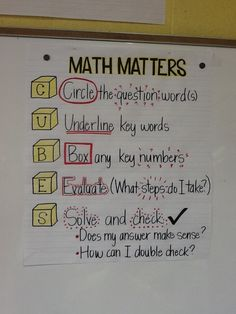 CC: This is an anchor chart that shows students the steps to solving a word problem. I would probably make this smaller and put it into my student's math notebooks. This targets all students. All you need is chart paper and markers. Math Teacher, Math Classroom, Teaching Math, Maths, Teaching Ideas, Classroom Ideas, Creative Teaching, School Teacher, Math Charts