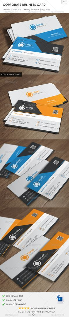 Corporate Business Card v31  #GraphicRiver         Corporate Business Card is especially for a Proffessional or Production Company and any other Industry type of Business. 2 Sided and color Business Card easy to modify.   Detail     Fully Layered PSD files  Fully Customizable and Editable  CMYK Setting  300 DPI High Resolution  Bleed Size: 3.75×2.25 in (1/8 in bleeds) (95.25×57.15 mm)  Standard Cut Size: 3.5×2 in (89×51 mm)  Print Ready Format  Horizontal Orientation  Font…