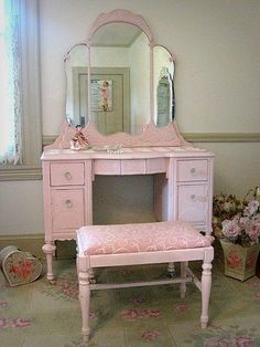 White Vanity Table With Mirror And Bench - Foter