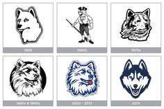 The evolution of the UConn Husky logo.