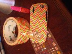 DIY phone case (duct tape, jewels, super glue & an old case)
