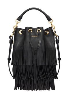 Saint Laurent Emmanuelle fringed bucket bag, $2,150, ysl.com.