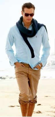The Good Ole Boy Tux... kahakis, blue oxford, navy blazers...