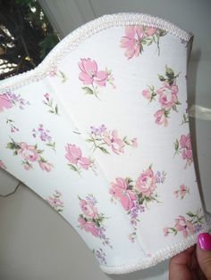 Pretty White w Pink Rose Flowers Vintage Cloth Fabric Light/Lamp Shade | eBay