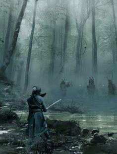 Fantasy Samurai battle in the woods. High Fantasy, Fantasy Rpg, Medieval Fantasy, Dark Fantasy Art, Fantasy Artwork, Fantasy World, Dark Art, Fantasy Samurai, Kendo