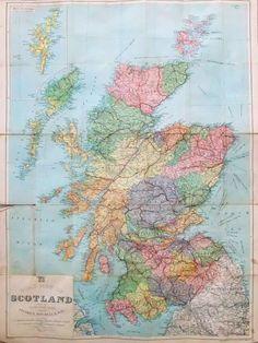 Vintage map of Scotland #PeonyandThistle