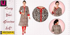 Revamp your wardrobe with our awsome collection of printed designer wear kurtis.  Grab them here : http://nextsize.in/