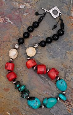 Turquoise, Coral and Black Onyx knotted Necklace in Greek Leather, $82, by Sundancegems on Ruby Lane