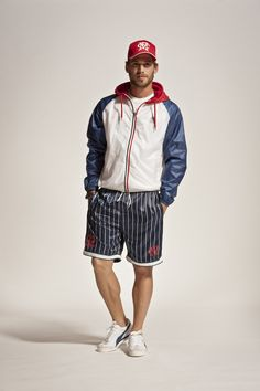 2013 - MAN Spring Summer COLLECTION - Cap, jacket and swim trunks. #franklinandmarshall, #americancollegestyle.