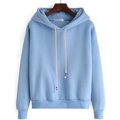 Hooded Drawstring Loose Blue Sweatshirt ($13) ❤ liked on Polyvore featuring tops, hoodies, sweatshirts, blue, blue hooded sweatshirt, blue pullover hoodie, long sleeve sweatshirt, blue sweatshirt and hooded sweatshirt