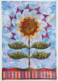 sunflower quilt***M.MAP IDEAS FROM FABRIC ARTS BOARD,CROSS OVER INTO PAINTINGS,M.M.MOSAICS,ETC.