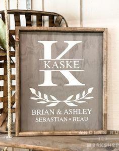 Monogram Crest Family Framed Wood Sign – 19×21 #arworkshop www.arworkshop.com