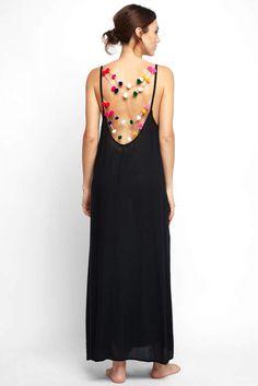 Boho Me Pom Pom Scoop Back Tank Dress #boho #bohostyle #summerstyle Afflink Sponsored
