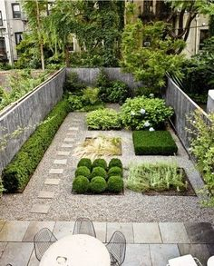 I love this easily maintained design for a small courtyard garden. Maybe plant vegetables in one square during the summer. ------ :) Bev