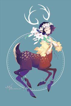 By Stephanie Kao  Prints are available, go support!  (www.zetallis.com)  #zetallisart #centuar #deer