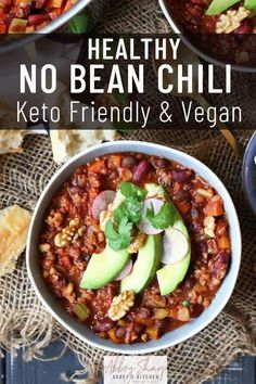 This healthy No Bean Chili is a delicious gluten free, high protein, low carb dinner recipe that vegans and carnivores alike will want to grab seconds of!